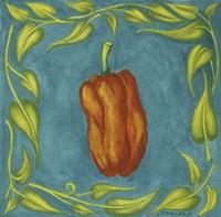 Peppers Orange Square Framed Print