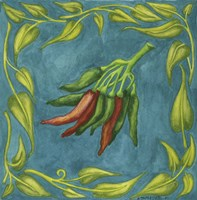Peppers Red And Green Square Framed Print