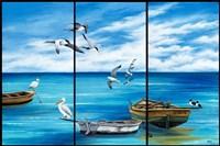 Fishing Boats and Birds Fine Art Print