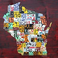 Wisconsin Counties License Plate Map Fine Art Print