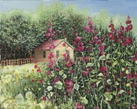 Sunlight on Hollyhocks Fine Art Print