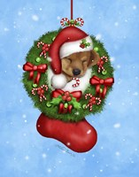 Christmas Stocking Puppy Fine Art Print