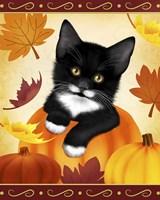 Falling Leaves Cat Fine Art Print