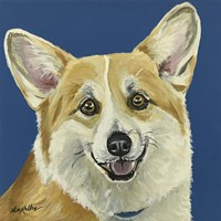 Corgi On Blue Fine Art Print