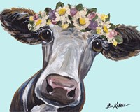 Cow Cora Flower Crown Blue Fine Art Print
