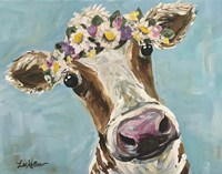 Cow Miss Moo Moo Turquoise Flower Crown Fine Art Print