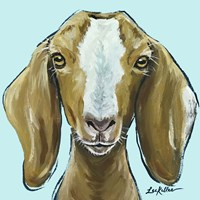 Goat Square Blue Fine Art Print