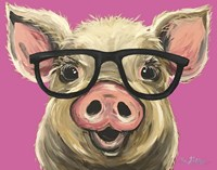 Pig Posey Glasses Pink Fine Art Print