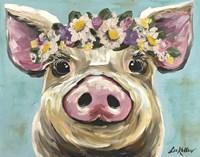 Pig Rosie Flower Crown 3 Fine Art Print