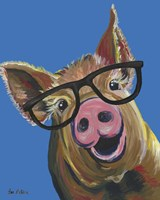 Pig Wilbur Glasses Blue Fine Art Print