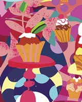 Cupcakes With Abstract Background Fine Art Print