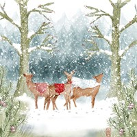 Christmas Deer Group Fine Art Print
