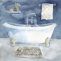 Watercolor Bathroom I Framed Print