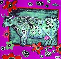 Cosmic Green Cow Fine Art Print