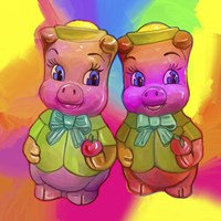 2 Piggies Fine Art Print