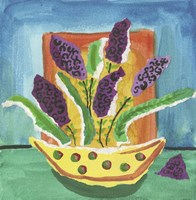 Purple Flowers Polka Dot Pot Fine Art Print