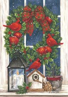 Pomegranate Christmas Wreath Fine Art Print