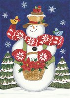Snowman with Poinsettias Fine Art Print