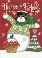 Happiest of Holidays Snowman Fine Art Print