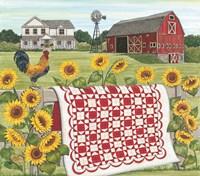 Red & White Farm Quilt Fine Art Print