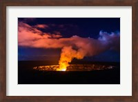 Lava Steam Vent Glowing At Night In The Halemaumau Crater, Hawaii Fine Art Print