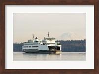 Seattle-Bremerton Ferry Passes In Front Of Mt Rainier Fine Art Print