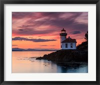 Orange Sunset at Lime Kiln Lighthouse Fine Art Print