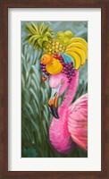 Flamingo with Fruit Baskets Fine Art Print