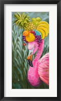 Flamingo with Fruit Baskets Fine Art Print