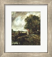 Barges Passing a Lock on the Stour Fine Art Print