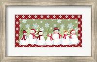 Snowman Wonderland - Green Plaid Fine Art Print