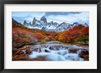 Argentina, Los Glaciares National Park Mt Fitz Roy And Lenga Beech Trees In Fall Fine Art Print