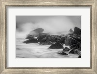 New Jersey, Cape May, Black And White Of Beach Waves Hitting Rocks Fine Art Print