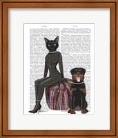 Black Cat and Rottweiler Book Print Fine Art Print
