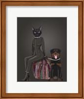 Black Cat and Rottweiler Fine Art Print