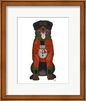 Christmas Des - Rottweiler in Christmas Sweater Fine Art Print
