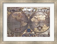 Map of the World-Silver (w/Gold Foil) Fine Art Print