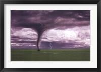 Tornado And Lightning On Field Fine Art Print