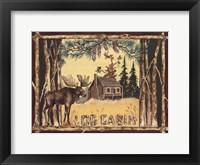 Log Cabin Moose Fine Art Print