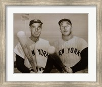 American Hero's Joe Dimaggio & Mickey Mantle Fine Art Print