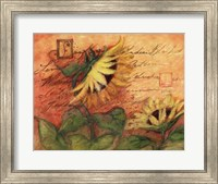 Sunflowers On Red Fine Art Print