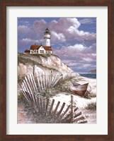 Lighthouse With Deserted Canoe Fine Art Print