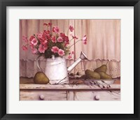 Pink Flowers And Pears Fine Art Print