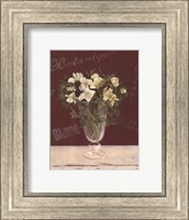 White Flowers In Glass Vase Fine Art Print