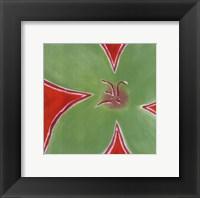 Green Flower With Orange Background Fine Art Print