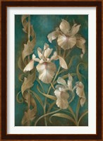 Irises on Teal Fine Art Print
