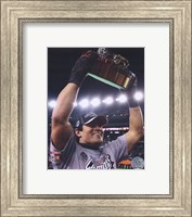 Tedy Bruschi 2007 Champ. Game celebrating with the Lamar Hunt Trophy Fine Art Print