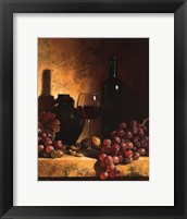 Wine Bottle, Grapes and Walnuts Fine Art Print