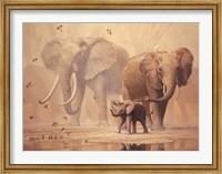 African Elephants and Namaqua Doves Fine Art Print
