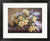 Still Life of Yellow Roses with Lilacs Fine Art Print